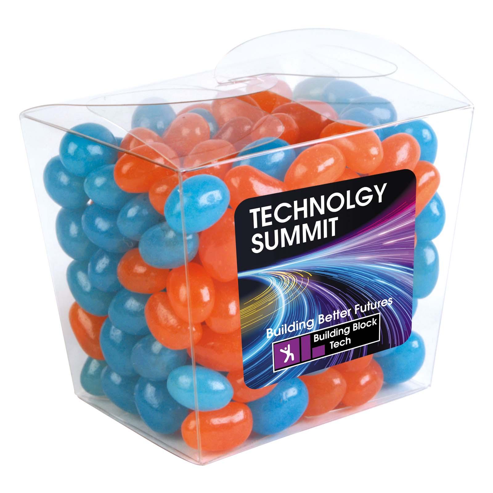 Corporate Colour Mini Jelly Beans in Clear Mini Noodle Box