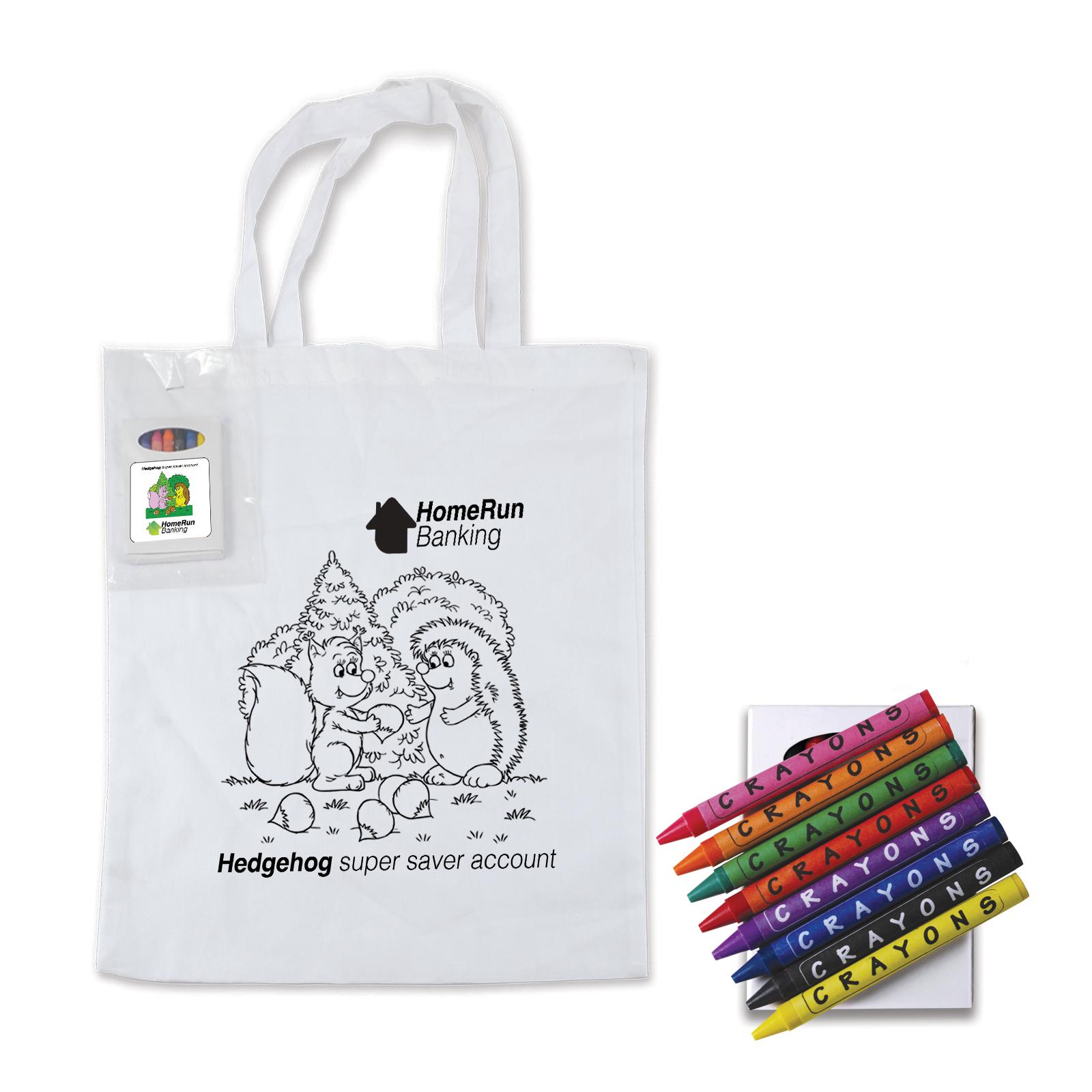 Colouring Short Handle Cotton Bag & Crayons