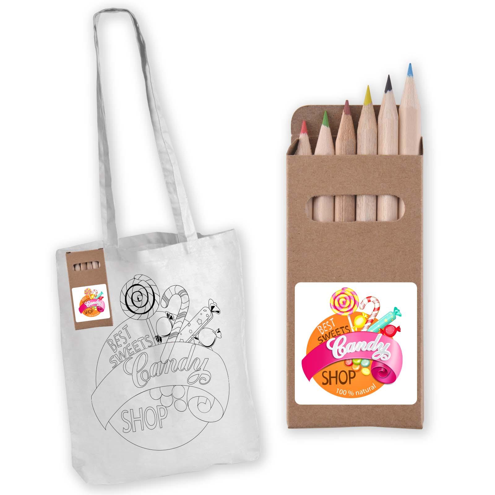 Colouring Long Handle Cotton Bag & Pencils